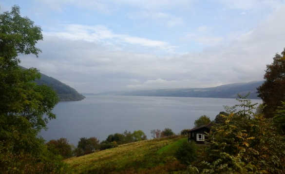Looking down a grassy hill over Loch Ness/