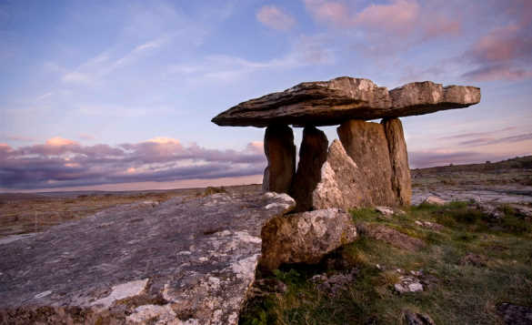 Large flat stone resting on top of other upright flat stones in the Burren, Co Clare, Ireland/