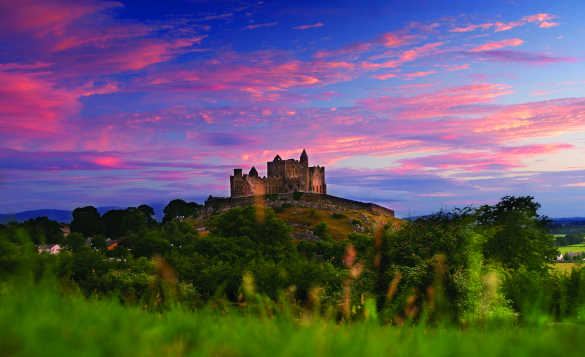 Red clouds over the Rock Of Cashel in Co Tipperary, Ireland/