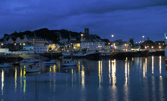 Night time view across a harbour to Killybegs /