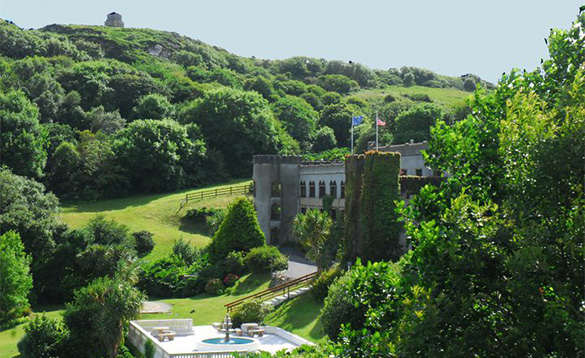 View looking down to the Abbeyglen Castle Hotel/