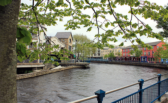 The Garavogue River flowing through the centre of Sligo/