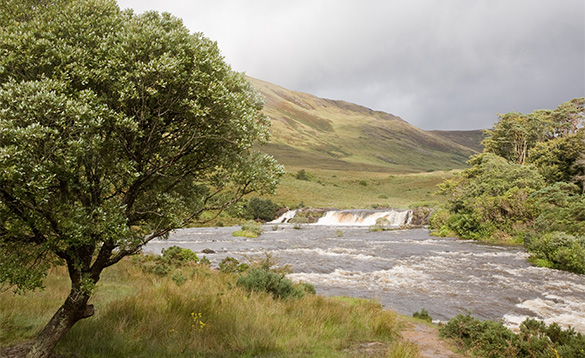 River flowing through the Irish countryside at Leeneane, Co Galway/