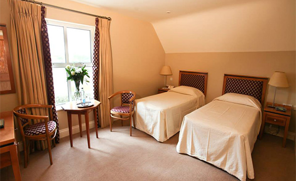 Twin bedroom at the Teach de Broc Hotel in Ballybunnion, Co Kerry /