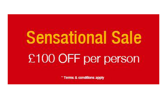Red square with yellow and white lettering promoting Jet2 holidays sale - 'sensational sale £100 off per person'/