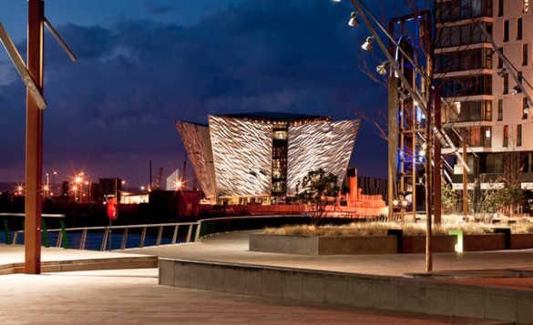 Night time view of the Titanic museum in Belfast/