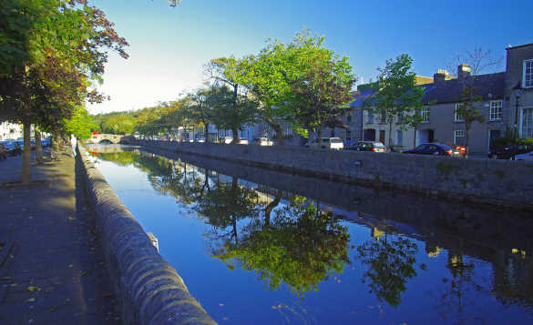 River flowing past houses in Westport, Co Mayo/