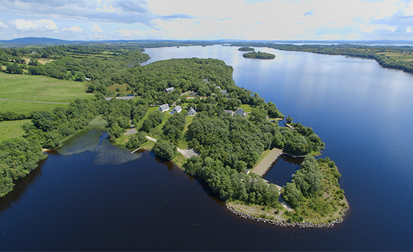 Aerial view of Finn Lough Resort on the shores of Lough Erne/
