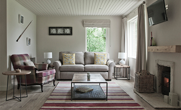 Lounge in a self-catering lodge at Finn Lough Resort/