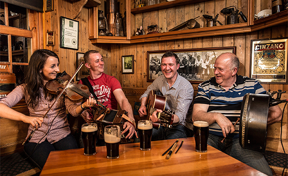 Group of traditional Irish musicians in a pub in Fermanagh/