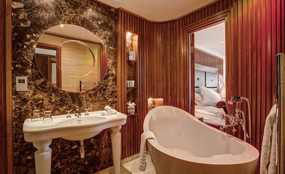 Luxurious en-suite bathroom at the Galgorm Hotel/