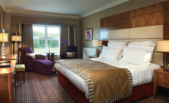 Luxurious bedroom with king-size bed at the Manor House Hotel, Enniskillen/