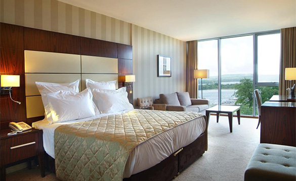 Hotel bedroom at the Manor House Hotel Enniskillen with views over Lough Erne/
