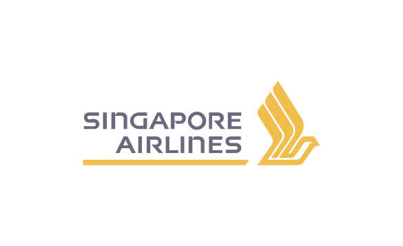 Singapore airlines logo with Singapore airlines in grey text underlined with gold/