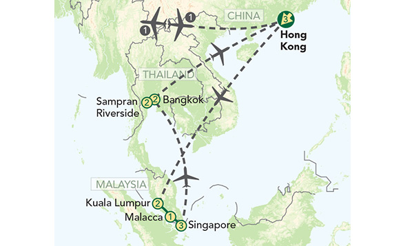 Drawing of a map of Thailand, China & Malaysia with tour marked on./