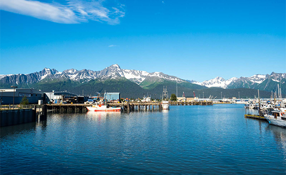 Snow capped mountains leading to a harbour/