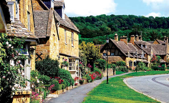 Row of pretty country cottages with lots of shrubs and pink flowers/