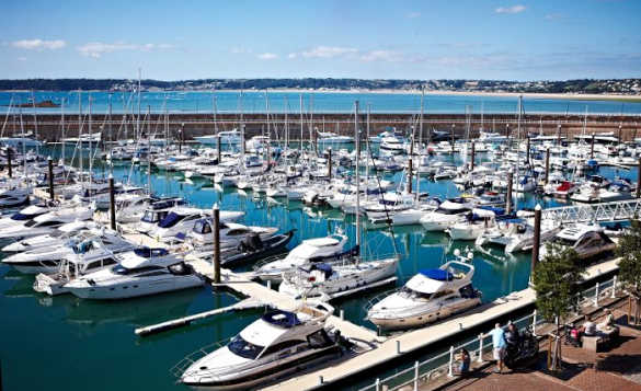 Boats and yachts moored at Elizabeth Marina, St Helier, Jersey/
