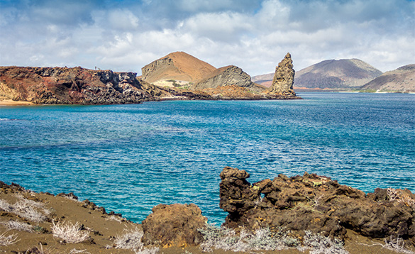 blue waters with rocky islands in the Galapagos/