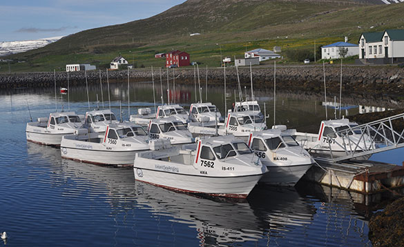 Boats moored beside a jetty in a harbour in Iceland/
