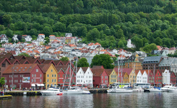 View across a fjord to Bryggen wharf in Bergen, Norway/