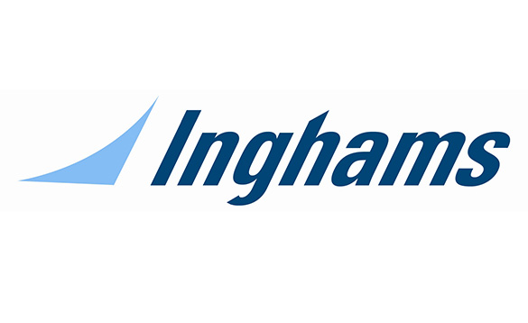 Inghams logo with blue lettering on a white background/