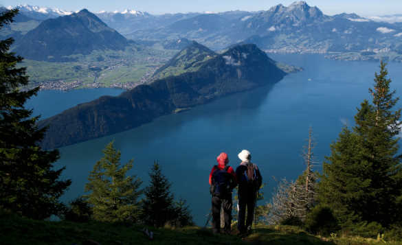 Couple standing on a hill looking across Lake Lucerne towards the Bernese Alps, Switzerland/