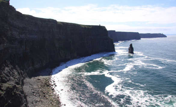 Waves breaking against the Cliffs of Moher in Co Clare/