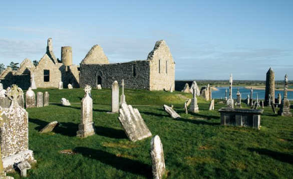 View of the ruins of the Clonmacnoise Monastic Site/
