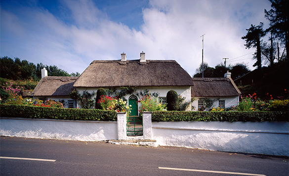 White thatched cottage in County Waterford, Ireland/