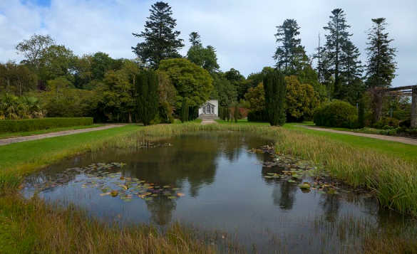 Pathways beside a reed fringed lake at Strokestown Park, Co Roscommon/