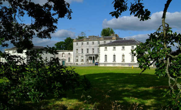View through trees across lawns to white painted Strokestown Park House/