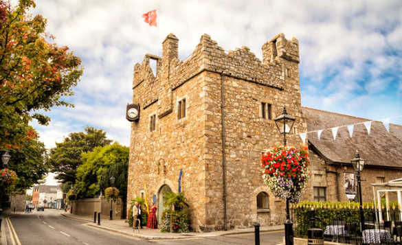 Flag flying from the tower of Dalkey Castle, Dublin/