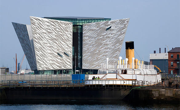 View across water to the Titanic Museum Belfast /