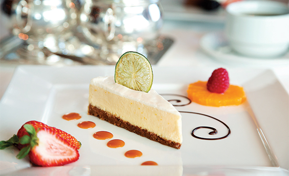 Cheescake and fruit served onboard an Oceania cruise ship/