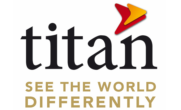 Titan travel logo - with 'Titan' in black and the words 'see the world differently' in gold/