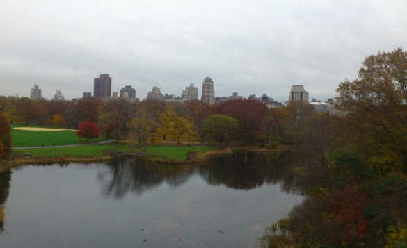 View across a lake to trees in autumn in Central Park, New York/
