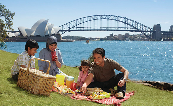 Family picnic beside Sydney Harbour/