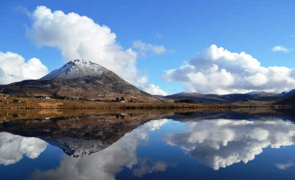 Errigal Mountain reflected in Dunlewey Lake, Co Donegal/
