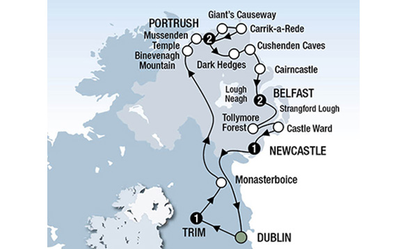 Map of the Quest for the Throne tour with CIE Tours/