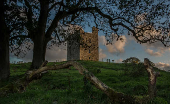 View through trees to Audley's Castle/