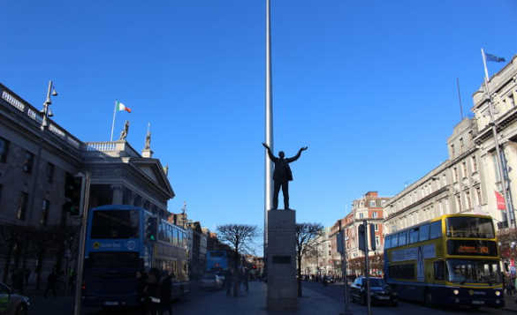 View down O'Connell Street in Dublin looking at the statue of James Lakin/
