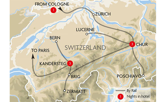 simplified drawing of map of Switzerland showing tour route for glacier express train tour/