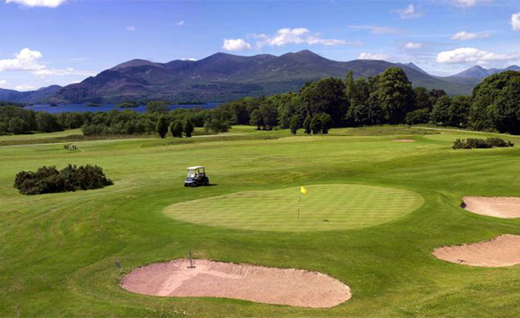 View across the golf course at the Castlerosse Hotel in Killarney towards the Magillycuddy Mountains/