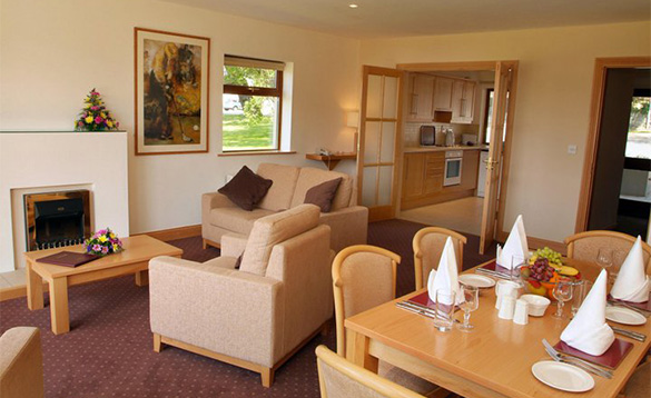 Lounge and dining area of the self-catering cottages at the Castlerosse Hotel in Killarney /