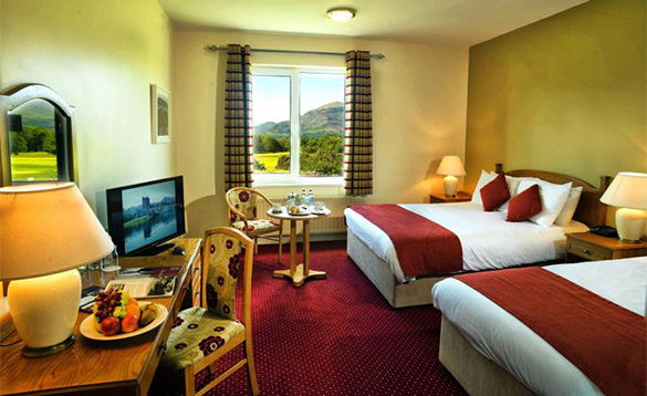 Hotel bedroom at the Castlerosse Hotel in Killarney with mountain views/
