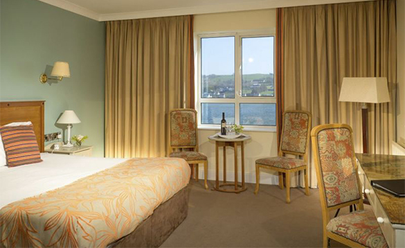 Bedroom at the Celtic Ross Hotel with views over the bay/