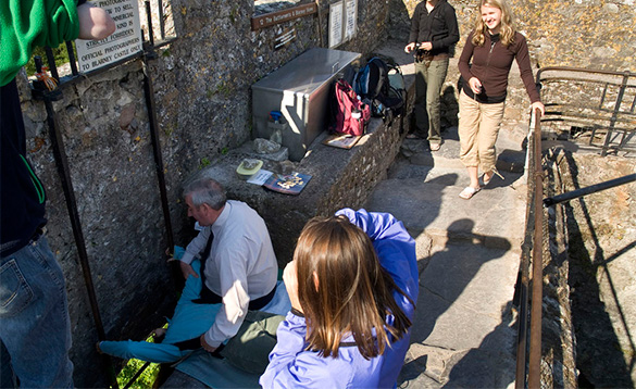 Man kissing the Blarney stone at Blarney Castle in Ireland/