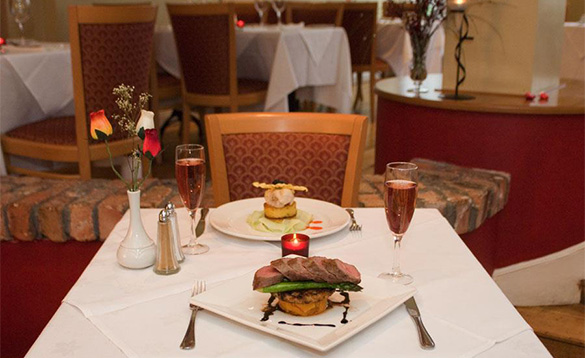 Table with dinner for two at the Clew Bay Hotel, Westport/