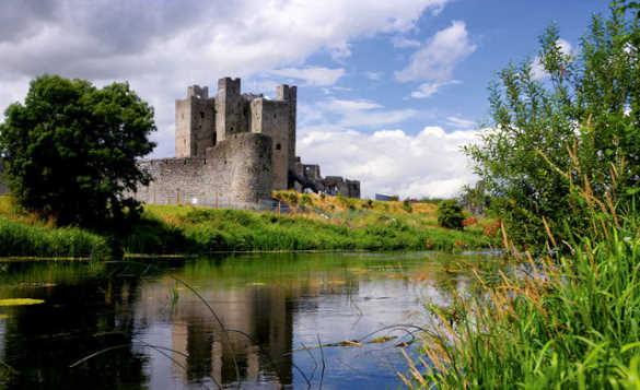River flowing past Trim Castle in Co Meath, Ireland/